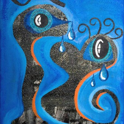 Abstract-crying-couple-50cm-x-30cm-Mixed-media-acrylic-glitter-gloss-painting-on-canvas