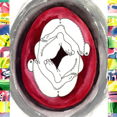 Baby-feet-in-the-womb-37cm-x-30cm-Watercolour-mixed-media-and-collage-painting-on-paper