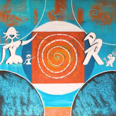 Depero-Spiral-Mandala-in-Blue-and-Orange-50cm-x-50cm-Acrylic-gloss-glitter-and-mixed-media-painting-on-canvas