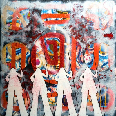 Four-Moses-like-shadows-walking-through-the-cosmos-orange-red-glitter-spiral-100cm-x-100cm-Mixed-media-acrylic-painting-on-canvas
