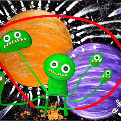 Little-green-men-with-bhindis-playing-in-the-planets-100cm-x-80cm-Mixed-media-gloss-acrylic-painting-on-canvas