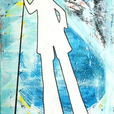Moses-like-shadow-walking-through-the-cosmos-blue-yellow-and-white-40cm-x-30cm-Mixed-media-acrylic-and-collage-painting-on-canvas