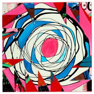 Pink-and-Blue-Collaged-Mandala-40cm-x-40cm-Acrylic-Gloss-and-mixed-media-painting-on-canvas