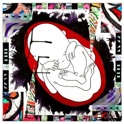 Sleeping-baby-fetus-100cm-x-100cm-Mixed-media-collage-acrylic-painting-on-canvas