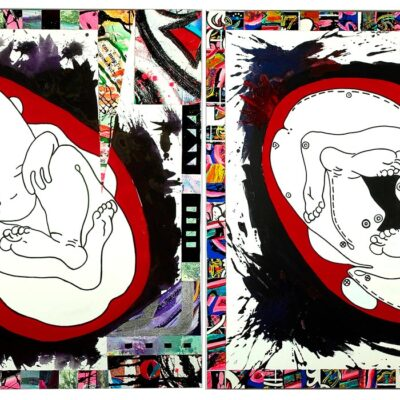 Sleeping-baby-fetus-and-sleeping-babies-feet-in-the-womb-as-a-diptych-200cm-x-100cm-Mixed-media-collage-acrylic-painting-on-canvas
